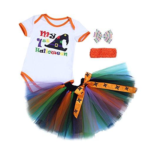 iiniim 3 Pcs Combinaisons Costume Cosplay Toussaint Citrouille Adorables Coton Romper + Tutu Jupe + Bandeau Arc Ensemble Vêtement 0-12 Mois Blanc & Orange 0-3 Mois