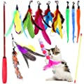 Cat Feather Toys, Petnice Interactive Cat Toys for Indoor Cat, 2 Retractable Cat Teaser Wand with 10 Pieces Refills (12 Pack)