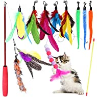 Cat Feather Toys, Petnice Interactive Cat Toys for Indoor Cat, 2 Retractable Cat Teaser Wand with 10...