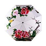 Estwell Paraguas de Viaje Compacto, Plegable, Resistente al Viento, protección UV, Paraguas de Lluvia para Mujer
