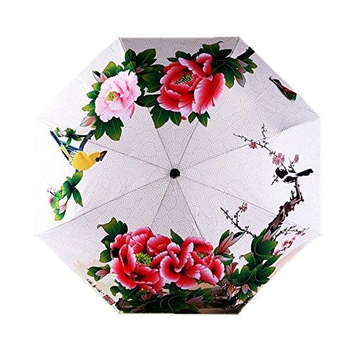 Estwell Reise-Regenschirm, faltbar, Winddicht, UV-Schutz, Sonnenschirm für Frauen, Red Flower (Mehrfarbig) - EWLS1426