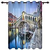 XZDPPTBLN Cortinas Opacas de Ojales con Aislantes Térmicas Impresión en Venecia Ciudad del Agua 100% poliéster para Niños y Ventanas de Salón Dormitorio 75x166cmx2 Piezas