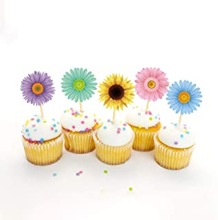 CC HOME flower Party Decoration,25CT Flower Cupcake Toppers for Girl,Boys Baby Shower,Birthday Spring Pary