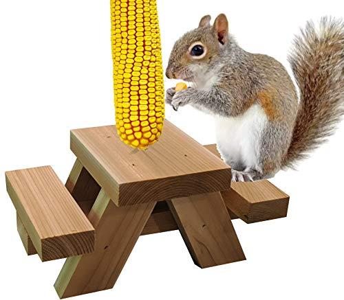 Buckeye Farms Premium Squirrel Picnic Table Feeder   100% Cedar   Made in Ohio