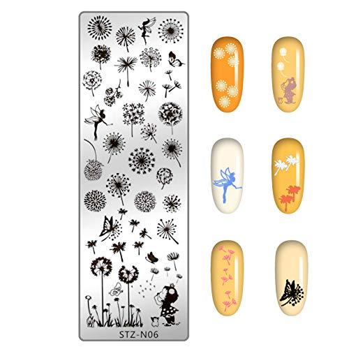 NICENEEDED Nail Art Stamping Plates Bildvorlage mit Blättern Löwenzahn Fee Schmetterling für Nageldesign Maniküre Druck DIY Nageldesign Nagellack Transferwerkzeuge (Blätter 4)