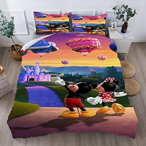 Itscominghome Disney - Juego de cama de 3 piezas, diseño de Mickey con motivos de animación impresos en 3D, funda de edredón y funda de almohada (Disney06,220 x 240 cm)