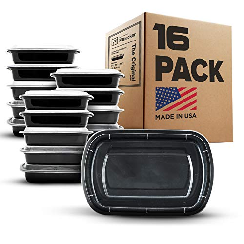 Fitpacker Meal Prep Containers - 28oz Portion Control Lunch Bento Box - Reusable Microwaveable (16...