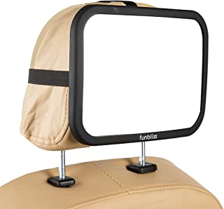 Baby Car Mirror Most Stable Backseat Mirror with Premium Matte Finish-Super Clear PMMA Material Mirror-Safe, Secure and Shatterproof,Black