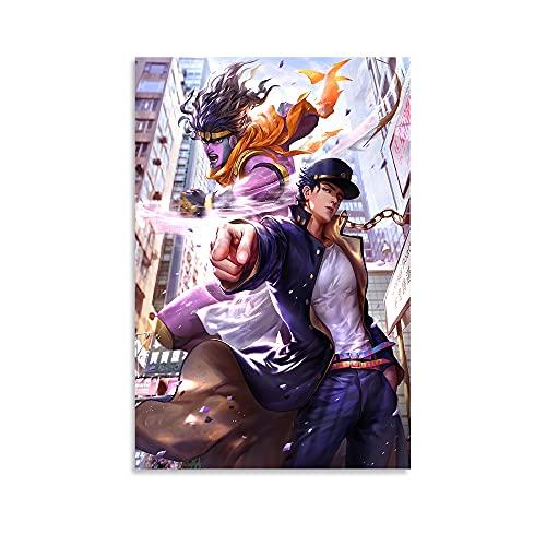 Hitecera Anime Poster JoJo's Bizarre Adventure Kujo Jotaro Poster Decorative Painting Canvas Wall Art Living Room Posters Bedroom Painting 12x18inch(30x45cm)