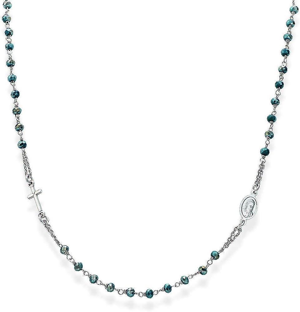 Amen, collana,rosario girocollo in argento 925 rodiato e cristalli CROBP3