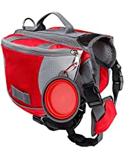 Dog Backpack Waterproof Lightweight and Breathable Dog Saddle Bag with Pet Foldable Bowl for Hiking Camping Travelling Rood S