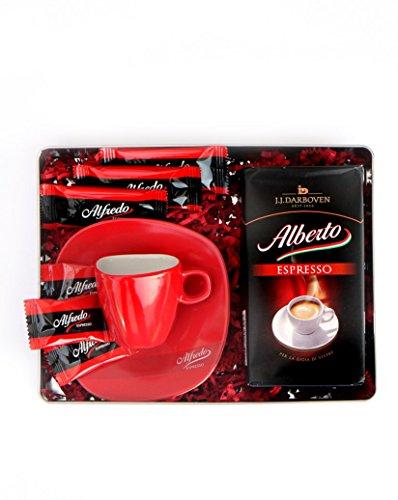 ROSSO NERO Geschenkdose mit Alberto Espresso, Espressotasse, Caramellgebäck und Schokolade