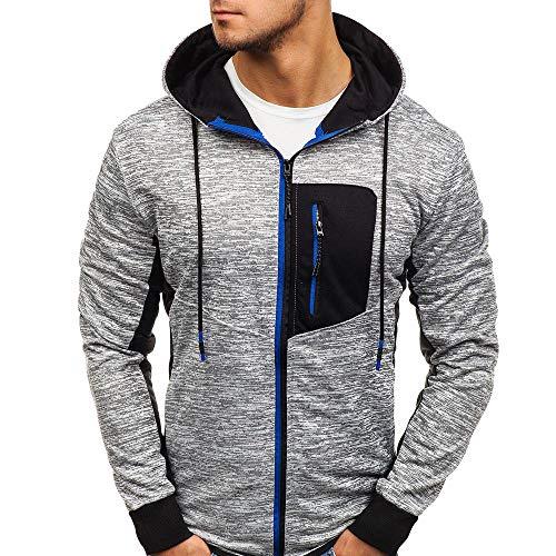 MRULIC Herren Sweatshirt Sport Outwear Herbst Hoodies Pullover Leichte Jacke zum Laufen und Klettern insgesamt RH-069(Blau,EU-52/CN-2XL)