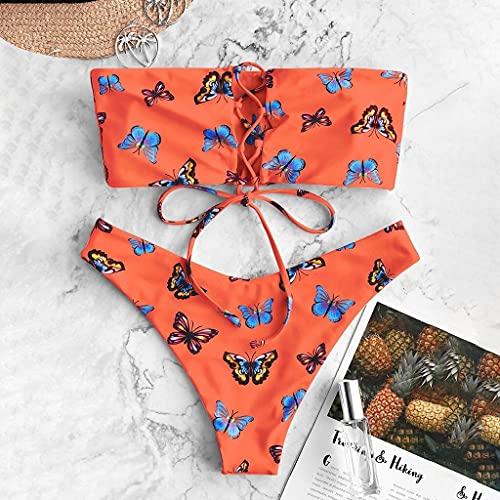 GPQHSM Bikini Trajes de baño Bikinis Mujeres Traje de baño de Dos Piezas de baño de la Mariposa Relleno y Estampado del Traje de baño Femenino de baño Bikinis212 (Color : Orange, Size : L)