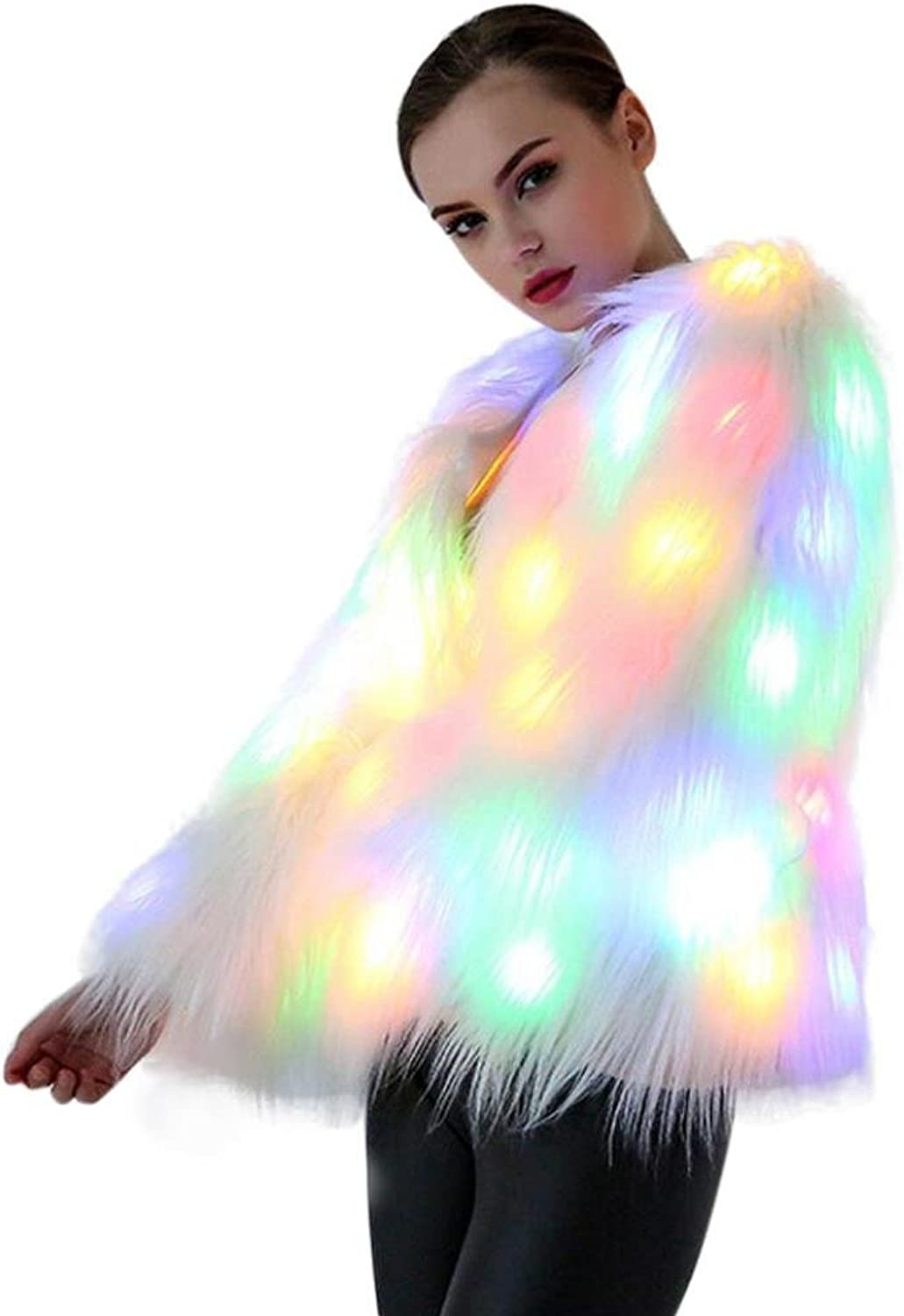 Coohole Women's Christmas LED Fur Coat Stage Costumes Nightclub Outwear Dancer Party Jackets (L)