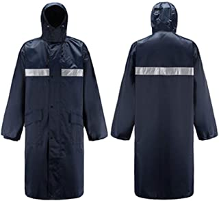 Poncho Raincoat and Long Section Outdoor Waterproof and Reflective One-Piece Raincoat (Color : Navy, Size : XXXL)