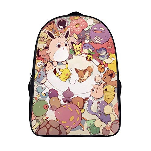 15.6 inches Backpack for poke-mon fans,Pikachu Eevee Pichu,Unisex School Bookbags, Cute Laptop Bag,waterproof Casual Travel Hiking Camping daypack for Boys Girls Kids
