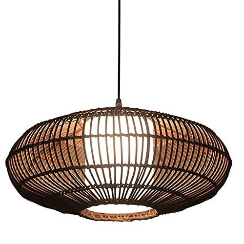 CSSYKV Decoración De Restaurante Iluminación Colgante Candelabros De Ratán Casa De Té De Una Sola Cabeza Tejidas A Mano Pequeñas Luces Colgantes Nido De Pájaro Creativo Chino Lámparas E27