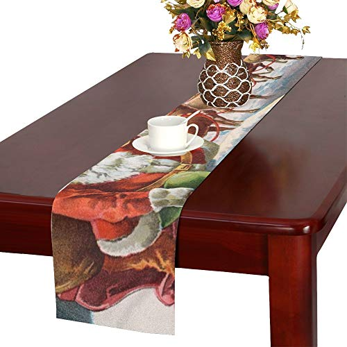 JINCAII Santa Reindeer Sleigh On Roof Top Table Runner, Kitchen Dining Table Runner 16 X 72 Inch For Dinner Parties, Events, Decor
