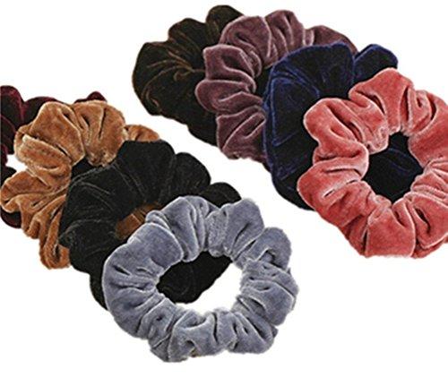 cuhair (TM) 8 Frauen Mädchen große Haargummi aus Samt mit Metall elastisches Haar Band Pferdeschwanz Halter Krawatte Zubehör