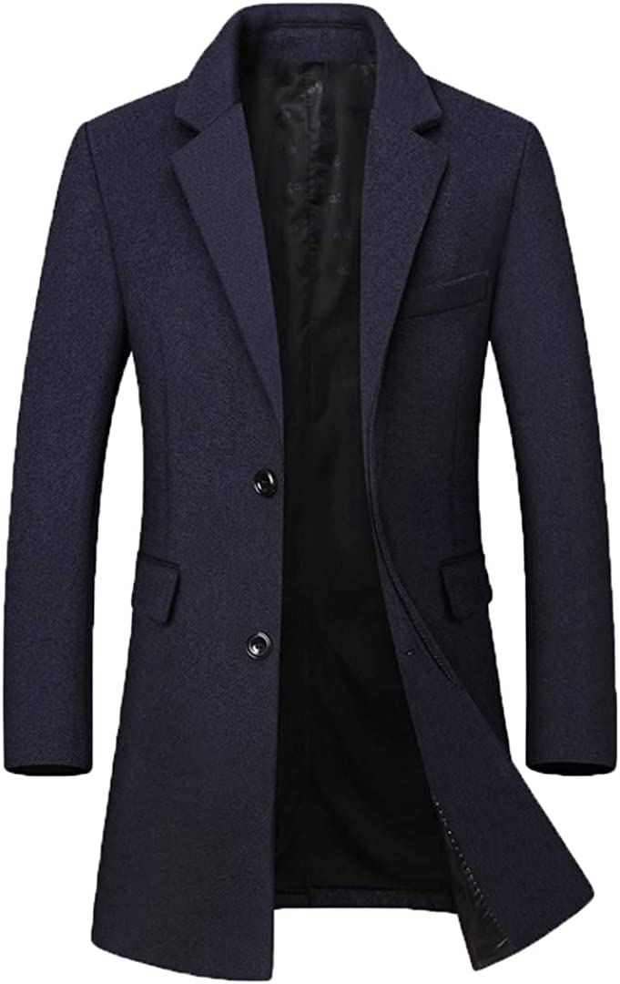 Zichhing Men Wool Blend Business Casual Solid Color Wool Coat Long Wool Blend Overcoat