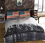 Urban Unique New York City Distressed Vintage réversible NYC Photo Impression Housse de Couette, Multicolore, Unique