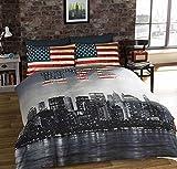 URBAN UNIQUE Copripiumino Singolo New York City Vintage Reversibile Stampa Foto NYC, Multicolore