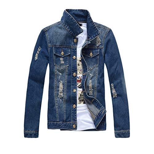 Cazadora para Hombre Jacket Manga Larga Chaqueta Vaquera Chaqueta de Jeans Chaquetas de Mezclilla Cazadora Denim,Azul2,3XL