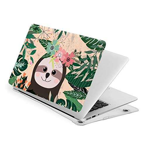 MacBook Air 13 Inch Case Art Flower Smile Sloth Fit A1369 A1466 Laptop Slim Hard Shell Plastic Protective Cover