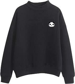 AOJIAN Women O-Neck Solid Color Cute Panda Pattern Long Sleeve Turtleneck Plus Velvet Sweatshirt
