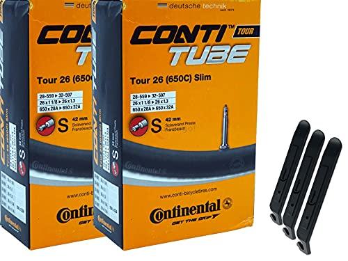 pneugo! Continental Sclaverand 28-559/32-597 Tour Slim - Juego de 2 cámaras de aire para bicicleta (26') y 3 desmontadores