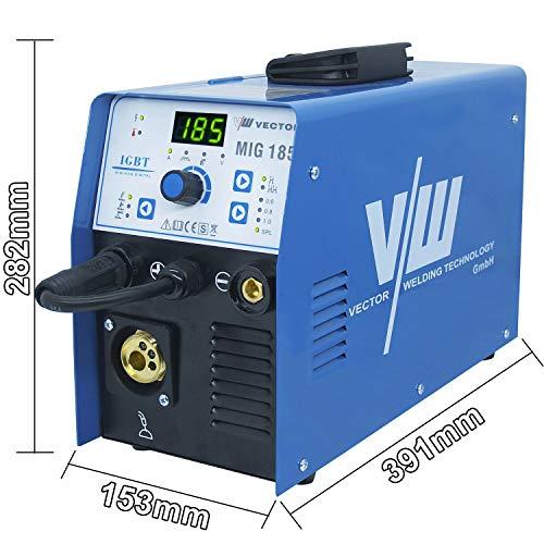 VECTOR Schweißgerät MIG185A Schweißinverter Kombi Schweißmaschine Drahtschweissgerät 4in1 MIG/MAG/WIG/MMA Fülldraht - mit Gas und ohne Gas