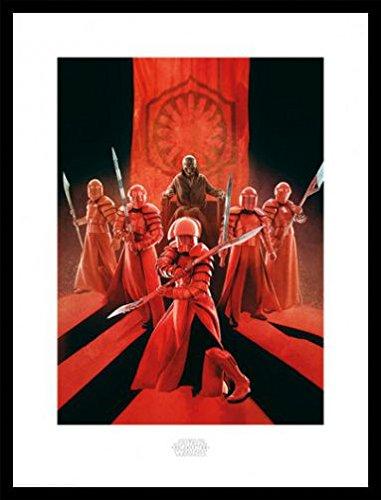1art1 Star Wars Póster Impresión Artística con Marco (Madera DM) Negro - Episodio VIII Los Últimos Jedi, Snoke Guardia Pretoriana De Élite (80 x 60cm)
