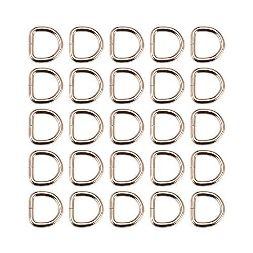 DyniLao 25pcs Metal D-Ring 0.8'(20mm) D-Rings Buckle for Material Bags Belts DIY Crafts Accessories Gold Tone