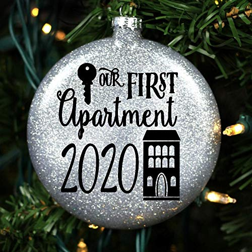 2020 First Apartment Glass Christmas Tree Ornament Couples Glitter Holiday Decoration Gift