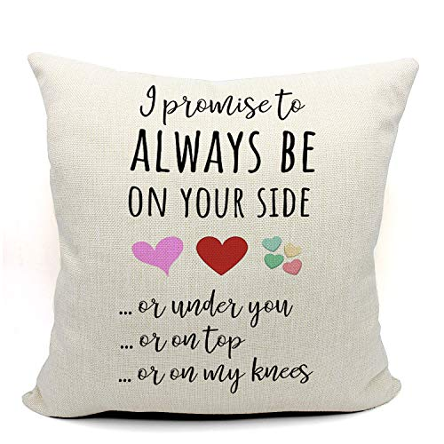 Mancheng-zi Funny Anniversary Throw Pillow Case, Long Distance Relationship Gifts, Gift for Couples, Fiance, Husband, Boyfriend Gifts, 18 x 18 Inch Linen Cushion Cover for Sofa Couch Bed