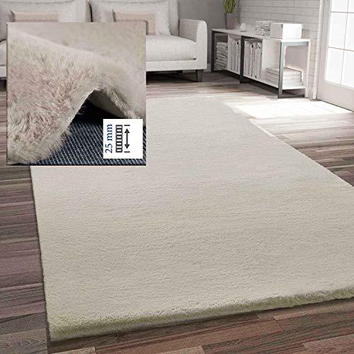 VIMODA Fellteppich Kunstfell Teppich Imitat in Beige Dicht Flauschig Seidiger Glanz, Maße:120x170 cm