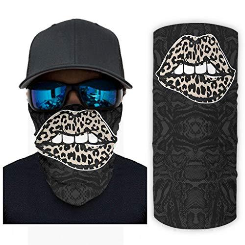 Bohohobo Leopard labios al aire libre Magic Diadema elástica sin costuras Bandana bufanda para senderismo blanco onesize