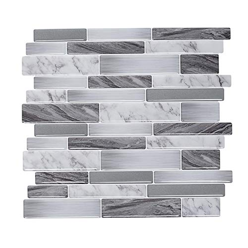 Peel and Stick Wall Tile Marble Mosaic 3D Wall Sticker Self-Adhesive Kitchen Bathroom DIY Backsplash Decor