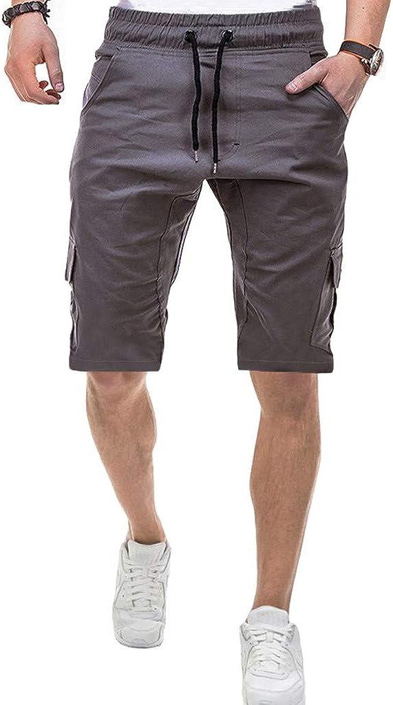 Men's Sport Casual Athletic Shorts Pure Color Bandage Casual Loose Sweatpants Drawstring Shorts Pant