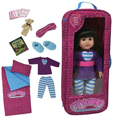 The New York Doll Collection G115 Sleepover beddengoedset met 9 accessoires, geschikt voor 46 cm grote American Girl reistas speelset – poppen-reisaccessoires