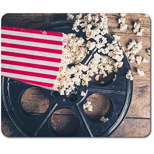 Tapete rectangular para ratón, carrete de película vintage de cine palomitas de maíz de 23,5 x 19,6 cm para computadora y portátil, oficina, base antideslizante #44617