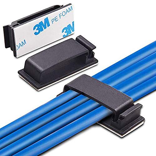 Magiin Paquete de 50 clips de administración de cables, abrazaderas adhesivas de alambre, clips de cable, organizador de cables de escritorio para TV, PC, portátil, oficina en casa