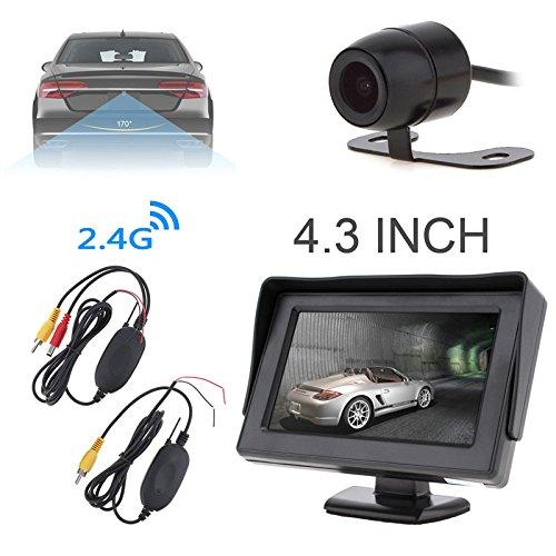 BENWEI 10,9 cm HD 480 x 234 Résolution 2 canaux d'entrée vidéo TFT-LCD moniteur de voiture avec 2,4 G émetteur et récepteur vidéo sans fil et caméra de recul de voiture