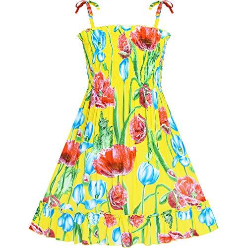Sunboree Mädchen Kleid Tank Smok Kleid Gelb Blume Gr. 128-134