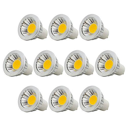 10er, 3W GU10 COB LED Lampen Birnen Spotlight Leuchtmittel,Nicht Dimmbar, 210LM, Warmweiß 3000K, 90°Strahlwinkel, Ersatz für 20W Halogenlampen,