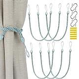munloo 6 Piezas Alzapaños Cortinas, Clips de Soporte de Cortina Trenzados con Ganchos de Metal para el Tratamiento de Ventanas de Decoración (Azul Claro)