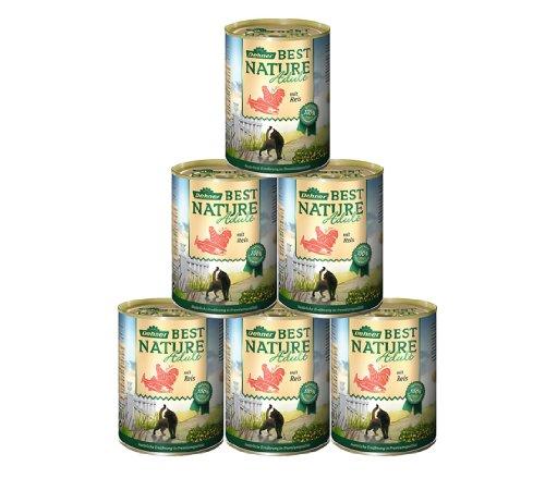 Dehner Best Nature Katzenfutter Adult, Lachs und Huhn mit Reis, 6 x 400 g (2.4 kg)