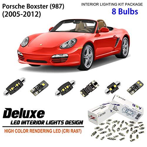 ZPL8988 - (8 Bulbs) Deluxe LED Interior Light Kit 6000K Xenon White Dome Light Bulbs Replacement Upgrade for 2005-2012 Porsche Boxster (987)