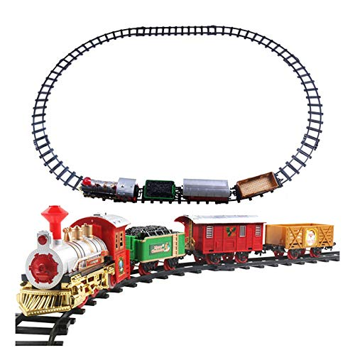 Christmas Train Set with Realistic Sound and Lighting Battery Operated Classic Railway Train Sets Round Railway Tracks for Under The Tree Toys for Kids Children Xmas Gifts Boys Girls (Train)